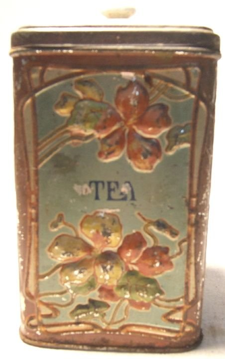 16: Early Tea Tin with Floral Design, 7 1/2H x 4 Sq., r