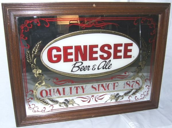 10: Genesee Mirrored Advertisement Framed, 22 L x 17 H