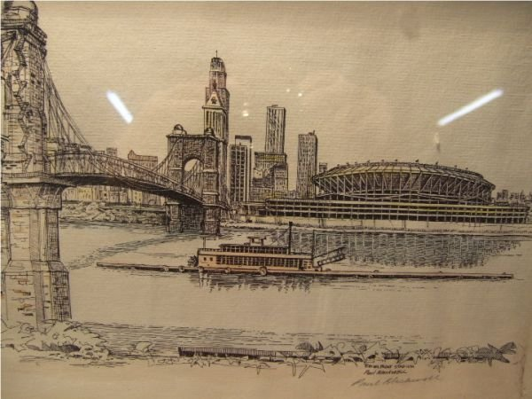 1: Framed Etching of Riverfront Stadium by Paul Blackwe