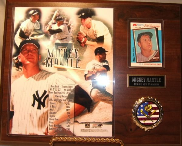 22: Mickey Mantle Plaque with Photo and Card 15 1/4 x 1