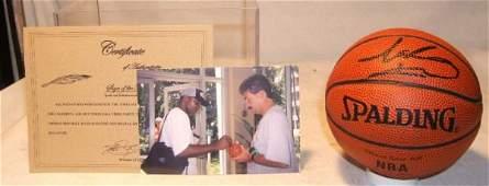82 Isiah Thomas Autographed Mini Basketball COA and P