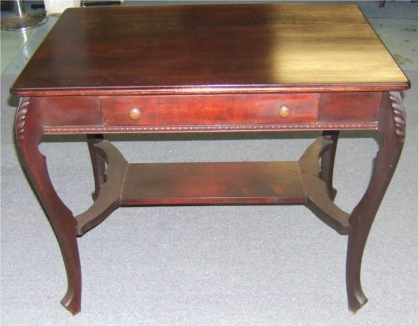 1010: Mahogany Library Carved Legged Table with Single