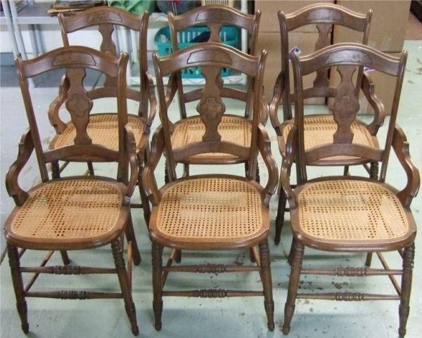 1005: Set of Six Matching 1800's Victorian Wicker Seat