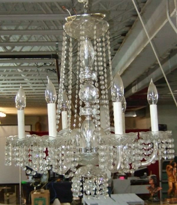1019: Six Light Victorian Crystal Hanging Chandilier