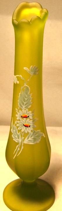 1011: Green Satin Hand Painted Floral Bud vase