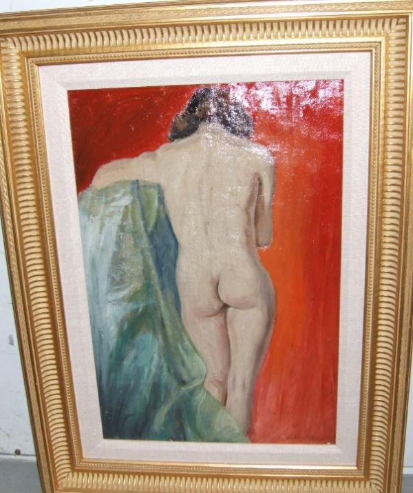 1024: 1940 A nude, Oil on Canvass, by Albert Dick, 26 1