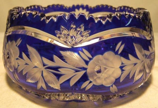 1006: Bohemium Cut Colbalt Glass Rose Bowl, 7 1/4Dia x
