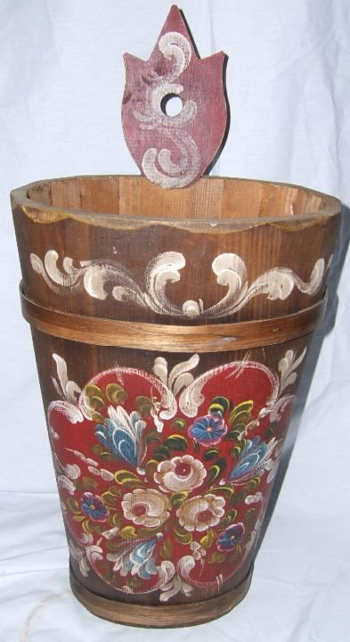 2019: Tole Painted Wooden Wall Bucket 23 1/4 x 11