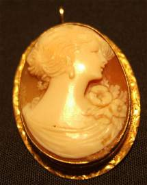 4024: Cameo Shell Pendant/Pin 10K Yellow Gold Frame 1 1