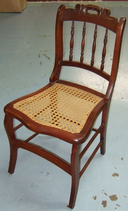 4001: Carved Handle Back Wicker Seat Chair