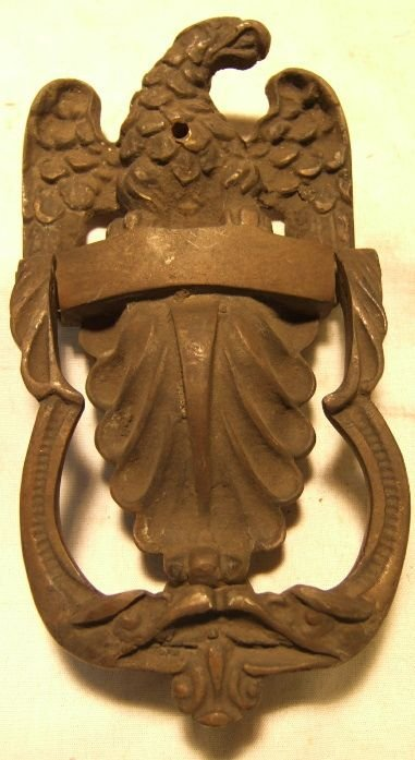 4008: Vintage Cast Iron Eagle Door Knocker, 8 1/2H x 4