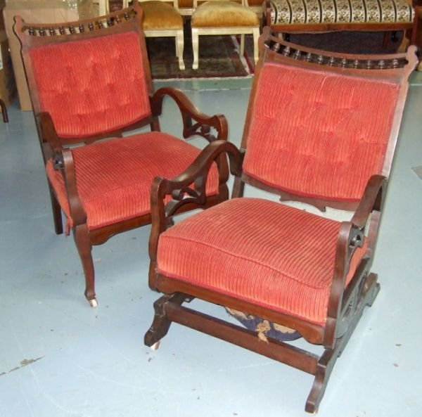 4017: 1800's Victorian Glide Rocker and Arm Chair Set