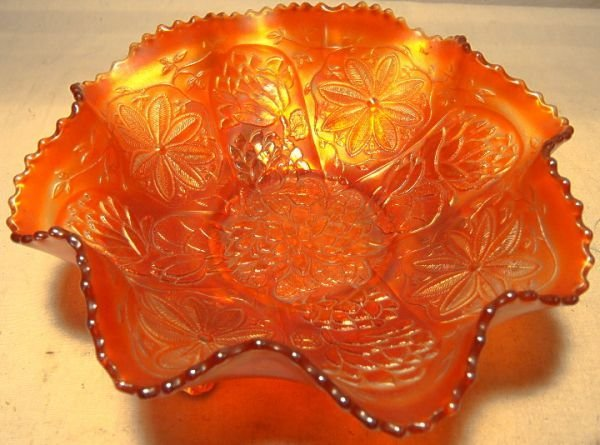 4018: Fenton Waterlily Carnival Glass Bowl, Marigold, F