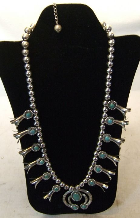 4079: Squash Blossom Silver and Turquoise Necklace, Ex
