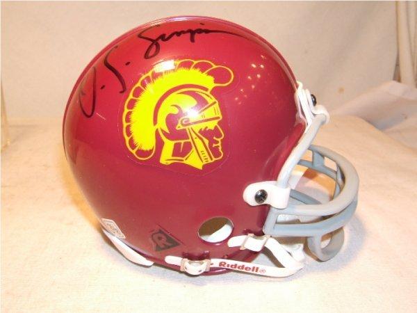 1011: O.J.Simpson Autographed USC Mini Helmet with COA