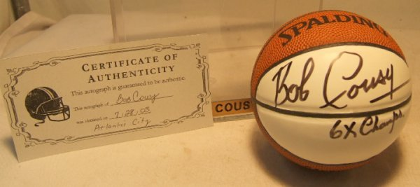 1017: Bob Cousey Autographed Mini Basket with COA