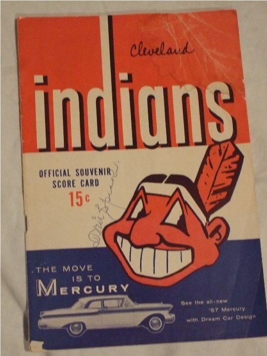 1168: 1957 Cleveland Indians Program with following aut