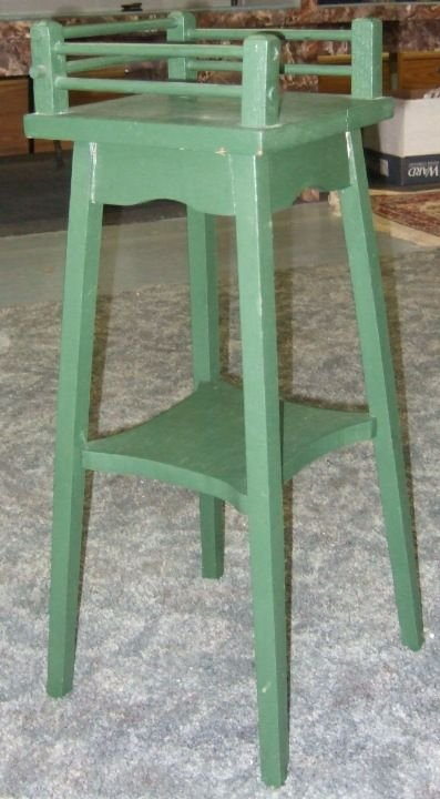 2023: Green Painted Oak Plant Stand with Gallery, 26H x