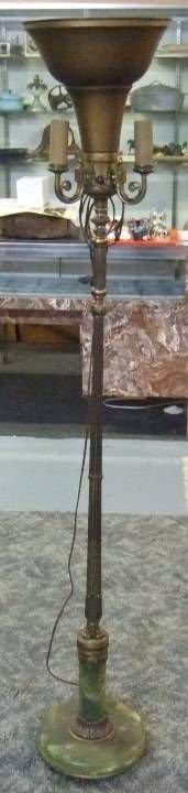 2002: Marble Base Urn Floor Lamp, Ornate, Three Candela