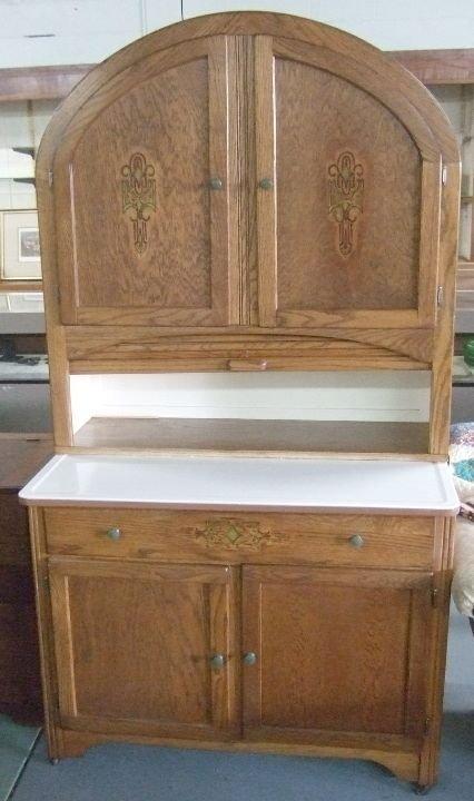 2093: Hoosier Dome Top Oak Kitchen Cabinet with Floor S