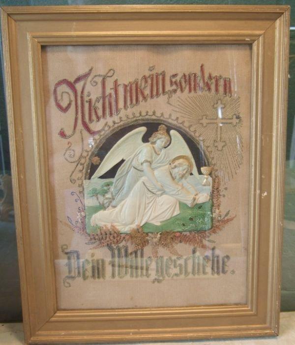 "2022: 16"" x 20"" German Prayer Framed Needlpoint Work"