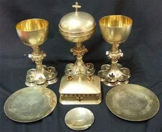 1151: Hamilton DiesingerLate 1800's 7 Pc.Communion Set