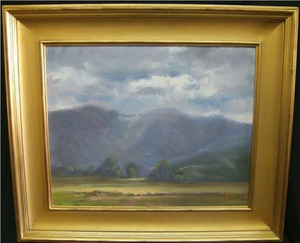 1013: Mountain Scenic Oil Painting , Artist Signed