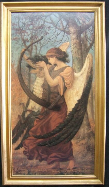 1034: Oil Painting Of Angel with Harp, Signed Sims 96,