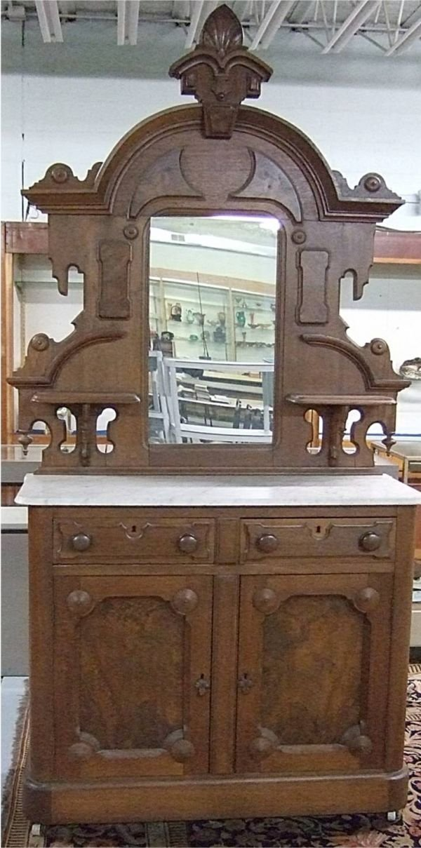 2097: 1800's Marble Top Victorian High Crested Sideboa