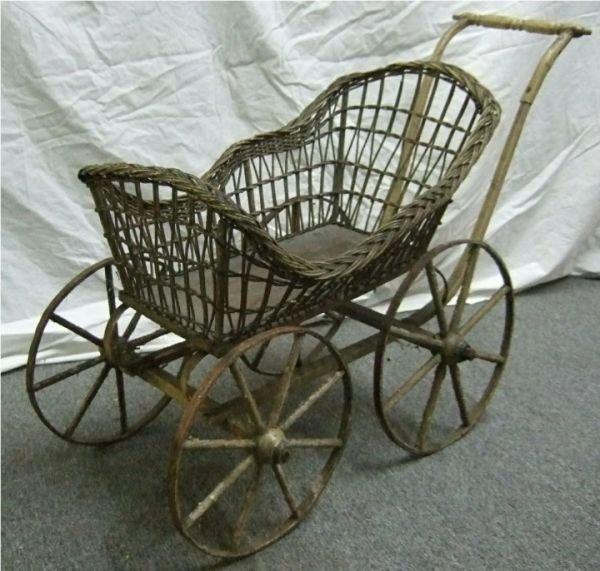 2008: Vintage Antique Wicker Baby Stroller Buggy