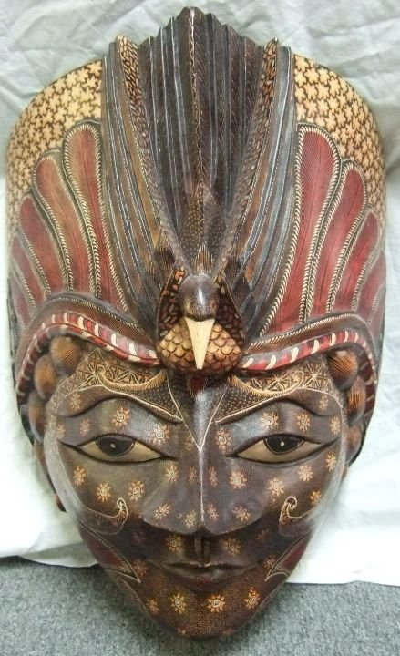 2011: Wooden Carved African Wall Mask, 15W x 9D x 21H