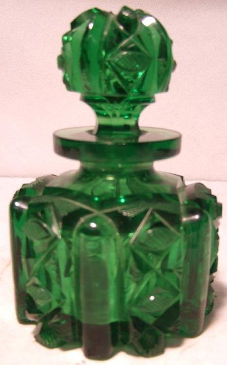 2012: Green Cut Glass Perfume Bottle