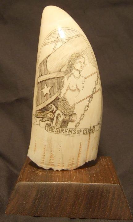 2024: Vintage Scrimshaw Carved Ivory Tooth, Signed