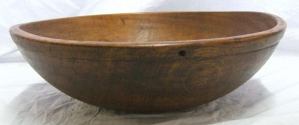 2013: Wooden Primitive Mixing Bowl, 18 1/2 Round, 6 Inc