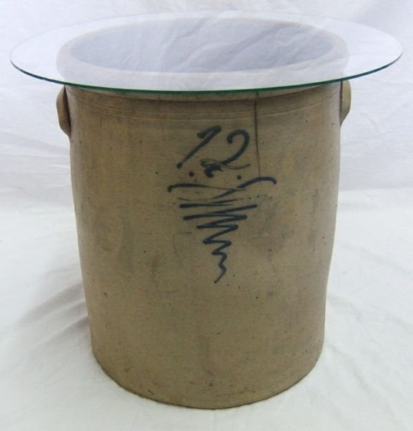 2006: Blue & White Stoneware Bumble Bee 12 Gallon Crock