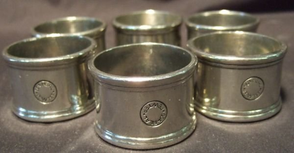 2022: Set of Six Pewter Napkin Rings, 1 x 1/2
