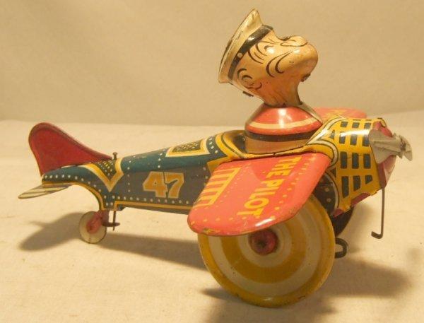 "4080: Marx Popeye the Pilot 7 3/4"" Wing Span"