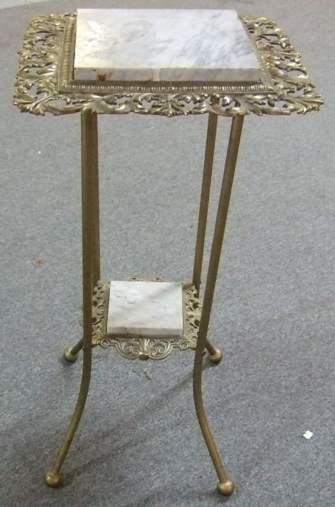 4017: Victorian Double Marble Top Fern Stand, 30H x 14