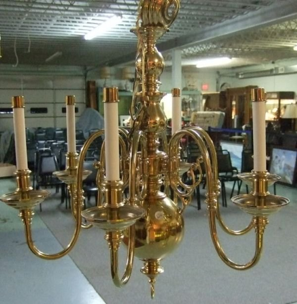 4004: Solid Brass Early American Style Chandilier 20 x