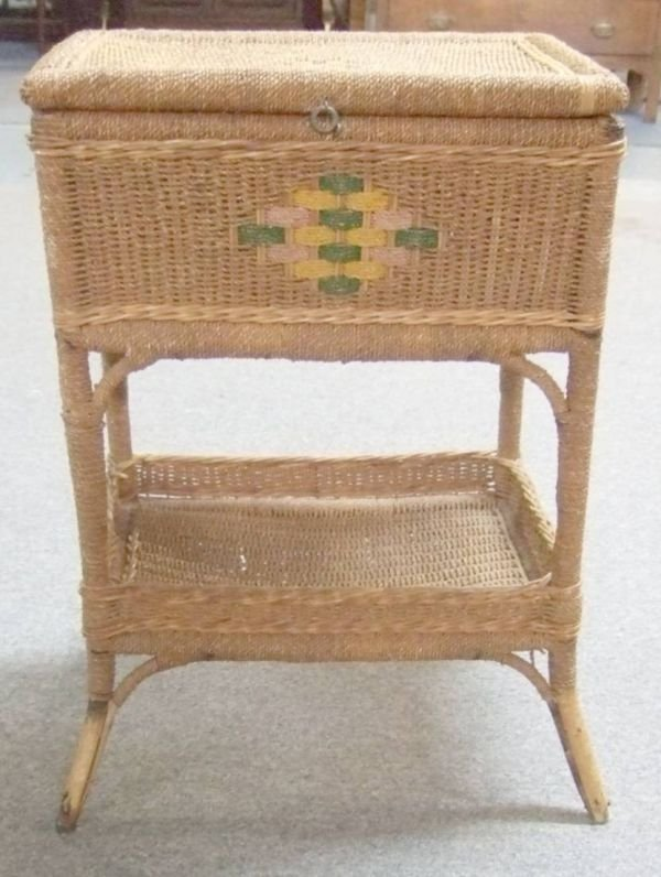 4024: Twisted Rope Floor Stand Sewing Basket, 26 1/2H x