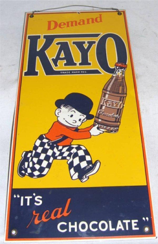 4: Kayo Chocolate Porcelain Sign, 17 1/4 x 8 W