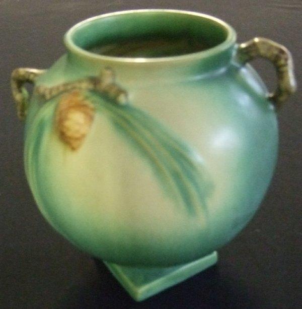 17: Roseville Pinecone Green Vase #745-6, Excellent Con