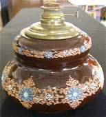 "57: Rare Weller Turada Line Oil lamp base, 11"" High"