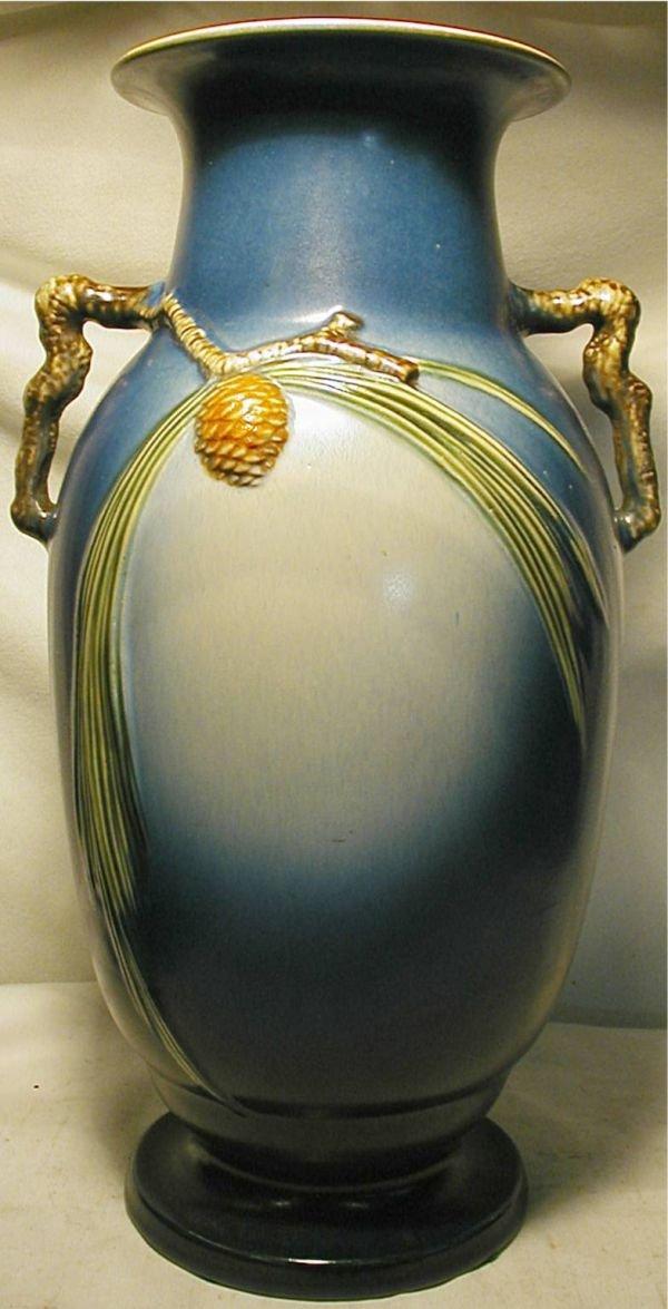 77: Roseville Blue Pinecone Floor Vase 913-18, Excellen