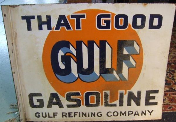 24: Vintage Gulf Oil Co. Porcelain Flange Sign