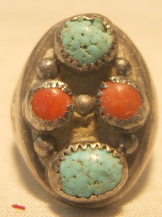 13: Vintage Indian Ring with Turquoise and Coral Stones