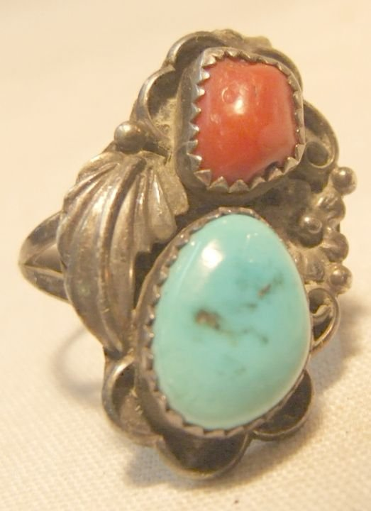 23: Vintage Indian Ring with Turquoise and Coral Stones