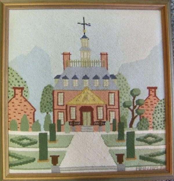 12: Needlepoint Picture Framed o Williamsburg Govenor'