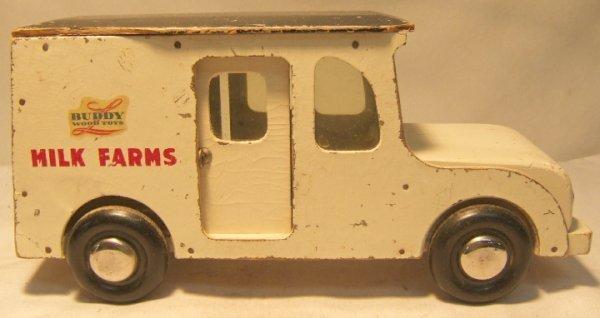 "1008: Buddy L ""Milk Farms"" Wood Toys Truck. 13"" Long"