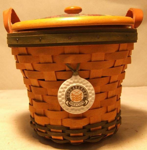 1010: Longaberger 2000 Golf Basket Set, Lid, Liner, Pro